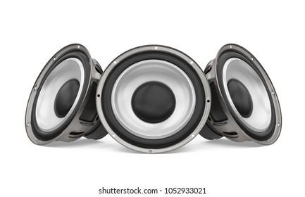 Sound Audio Loudspeakers Isolated. 3D rendering