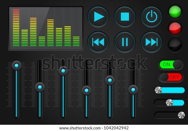 Sound control panel. Equalizer, set of media player buttons, sliders. 3d illustration. Raster version