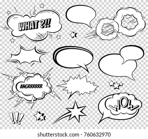 Sound effect set design for comic book. Comic Book Bang cloud, pow sound, bomb pow sound. Comic speech bubbles set.
