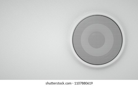 Sound speaker under the grille on a white leather background 3d illustration