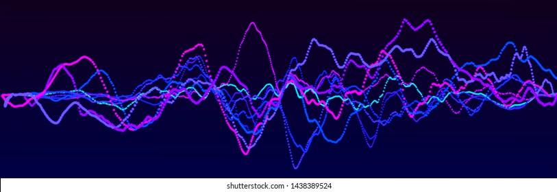 Sound wave element. Abstract blue digital equalizer. Big data visualization. Dynamic light flow. 3d rendering.