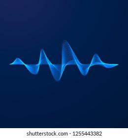 Sound wave. Equalizer pattern. Abstract blue digital waveform. illustration