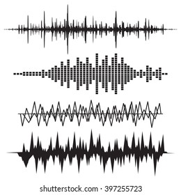 Sound Wave Icon Set.  Equalize audio and stereo, melody.