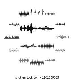 Sound wave icons set in simple style. Audio equalizer set collection illustration