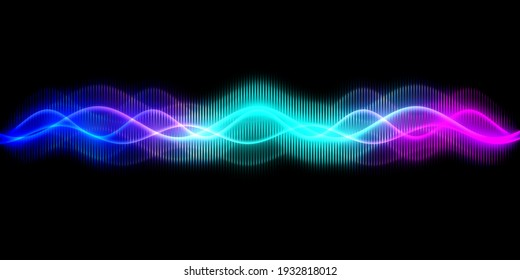 Sound wave line multicolor music abstract background. Neon light curved with colorful graphic design.