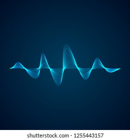 Sound wave pattern. Equalizer graf design. Abstract blue digital waveform. illustration isolated on dark background