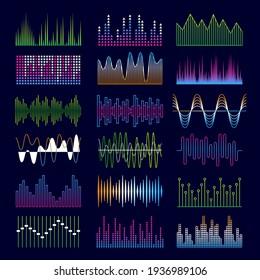 Sound waves. Music symbols equalizer shapes signal voicepulse templates