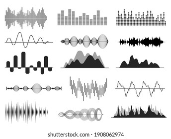 Sound waves. Music wave, audio frequency waveform. Radio voice and soundtrack symbols. Soundwave abstract signals isolated set