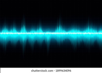 Sound waves oscillating glow light. Hi tech futuristic in blue color design layout background