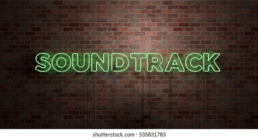 SOUNDTRACK - fluorescent Neon tube Sign on brickwork - Front view - 3D rendered royalty free stock picture. Can be used for online banner ads and direct mailers.