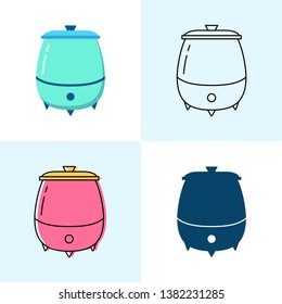 Soup warmer icon set in flat and line styles. Professional restaurant equipment symbols.
