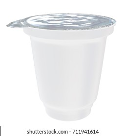 Sour Cream  Cup Tub Container with Foil Cover Mockup for Design Project - Mock Up 3D illustration Isolate on White Background