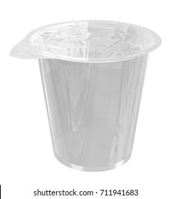Sour Cream  Cup Tub Container with Transparent Cover Mockup for Design Project - Mock Up 3D illustration Isolate on White Background