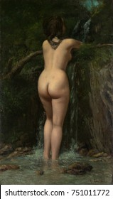 THE SOURCE, by Gustave Courbet, 1862, French painting, oil on canvas, French painting, oil on canvas. This is believed to be Courbets Realist retort to Neoclassicist Jean Auguste Dominique Ingres\x90s