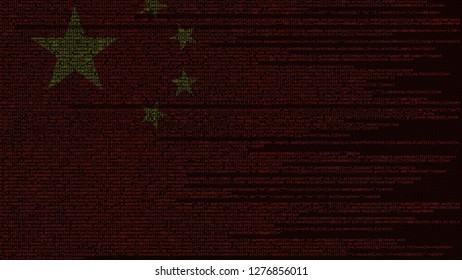 Source code and flag of China. Chinese digital technology or programming related 3D rendering