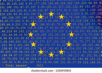 Source code of software with errors and overlaid EU flag. Illustration by European copyright law, European Union directive regarding the protection of copyright on the internet.