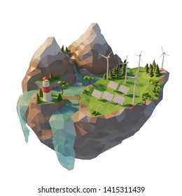 Sources generation clean energy. Solar panels and wind turbines renewable sources energy. 3d low poly illustration.