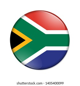 South Africa country on a flag badge button isolated over white 3D Illustration