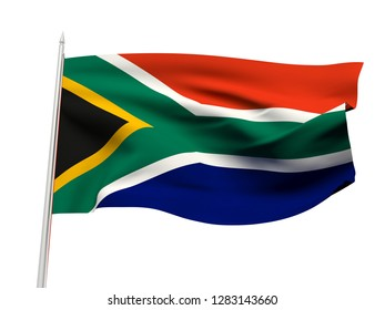 South Africa flag floating in the wind with a White sky background. 3D illustration.