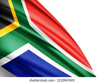 South Africa  flag of silk with copyspace for your text or images and white background-3D illustration