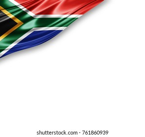 South Africa  flag of silk with copyspace for your text or images and white background -3D illustration