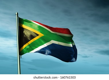 South Africa flag waving in the evening