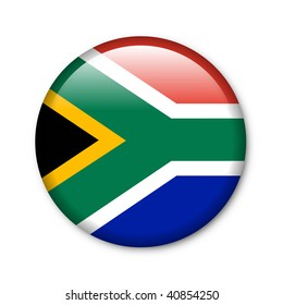 South Africa - glossy button with flag