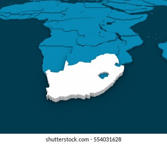 south africa map 3D illustration