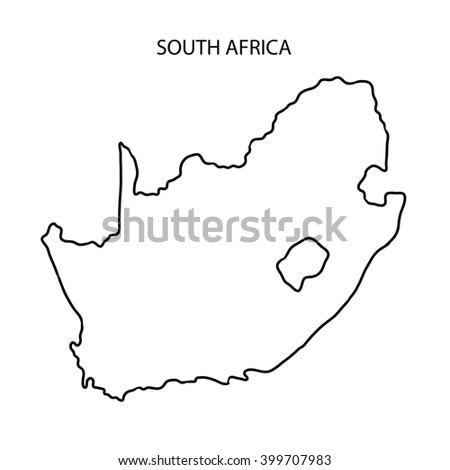 South Africa Map Outline Stock Illustration 399707983 Shutterstock