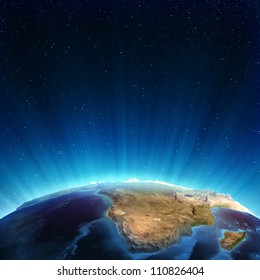 South africa real relief. Elements of this image furnished by NASA