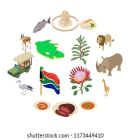 South Africa travel icons set. Isometric illustration of 16 South Africa travel icons for web