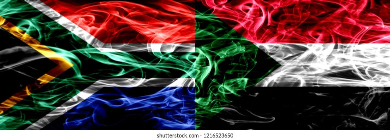 South Africa vs Sudan, Sudanese smoke flags placed side by side. Concept and idea flags mix