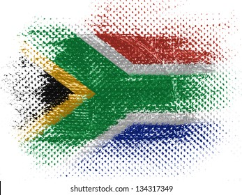 South African flag on dotted surface