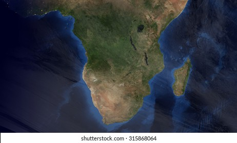 South African Map Space View (Elements of this image furnished by NASA)