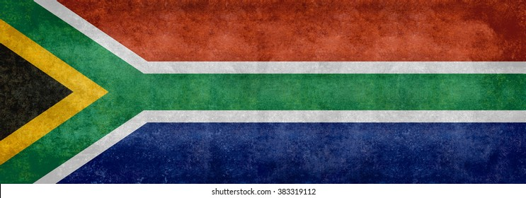 South African national flag, Banner version with distressed grungy patina