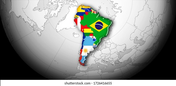 South America flag ,continent, world map and black background-3D illustration