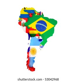 South America map with countries and capital cities