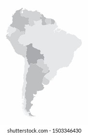 South America map with the countries in grayscale