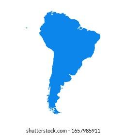 Icône de carte de l'Amérique du Sud isolée sur fond blanc. Concept de voyage dans le monde entier.