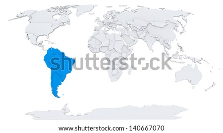 3d Globe Map Bump Map.South America On 3 D Bump Map Stock Illustration Royalty Free