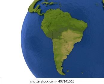 South America on detailed model of planet Earth with visible country borders on green land and waves on the ocean waters. 3D Illustration.