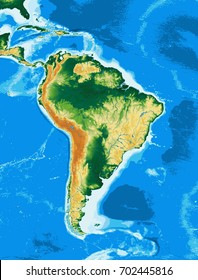 South America physical map. Elements of this image furnished by NASA