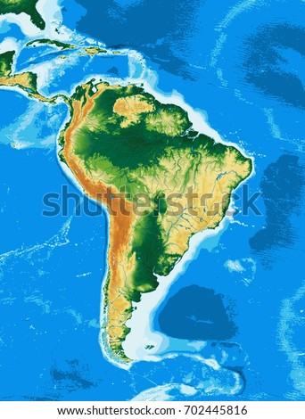 South America Physical Map Elements This Stock Illustration ...