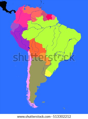 South America Political Map Stock Illustration 513302212 - Shutterstock