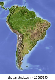 South America. Shaded relief map. Colored according to vegetation.  Data source: NASA