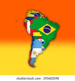 South America,continent, flags, maps, and red yellow color background