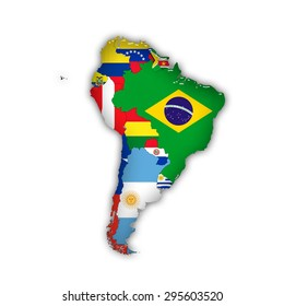 South America,continent, flags, maps, and white background