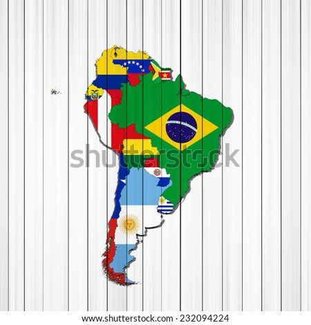 south americacontinent flags mapsand wood background stock
