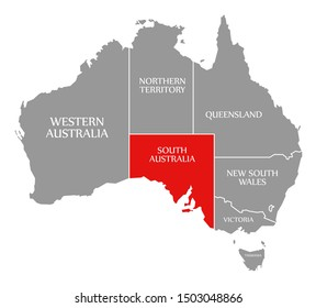 South Australia red highlighted in map of Australia