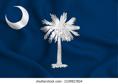 South Carolina 3D waving flag illustration. Texture can be used as background.